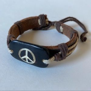 Jewelry - Leather Peace Sign Hippie Bracelet, Adjustable
